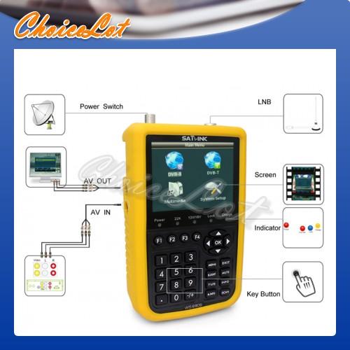 "3.5"" LCD Handheld SATLINK WS-6909 DVB-S DVB-T FTA Satellite Signal Finder Meter"